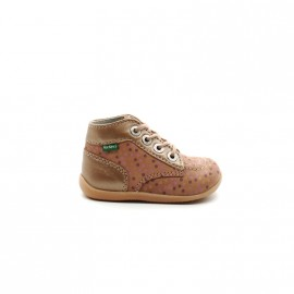 Chaussures Montantes Bébé Fille Kickers Bonbon Rose Pois